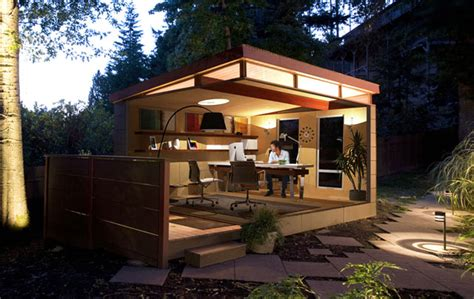 Garage Floor Plans 10 quot shedquarters quot bring the home office to your backyard