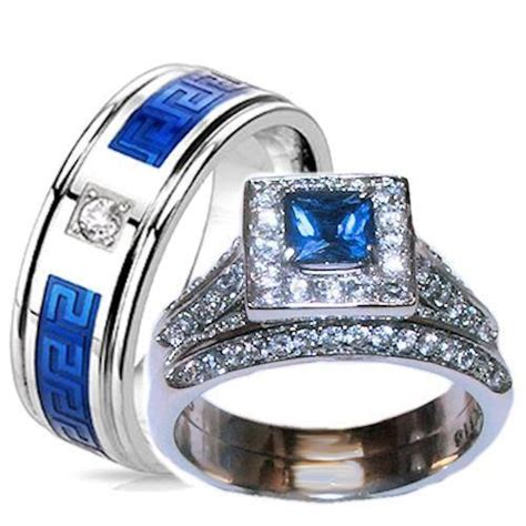 wedding rings with engraved royal blue wedding rings