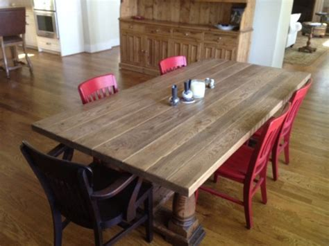 Oak And White Kitchen Table Antique Reclaimed White Oak Dining Table Traditional Dining Tables Other Metro By