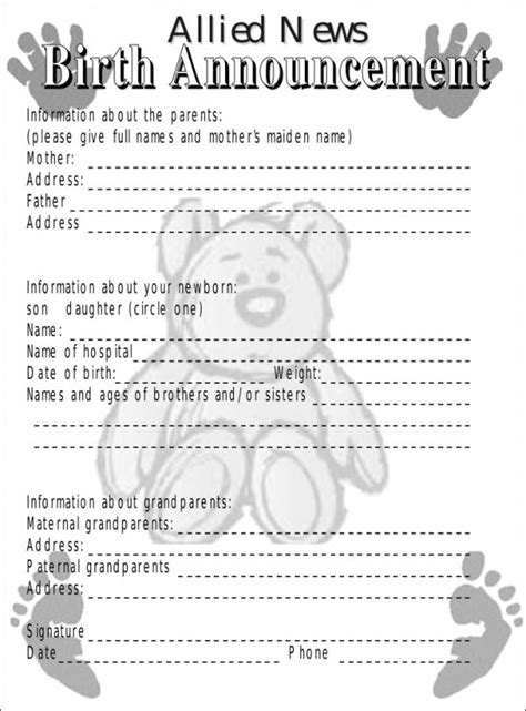 10 Birth Notice Sles Templates Free Word Pdf Format Download Birth Announcement Template Free Printable