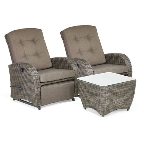 Bellevue 2 Seater Reclining Rattan Garden Chairs with