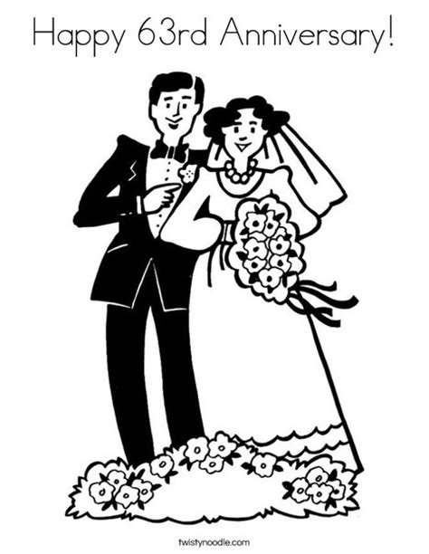 Animasi Happy Wedding by Happy 63rd Anniversary Coloring Page Twisty Noodle