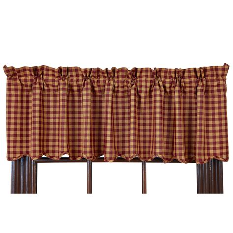 Scalloped Valance Curtains Check Scalloped Country Curtain Valance Navy Or Burgundy