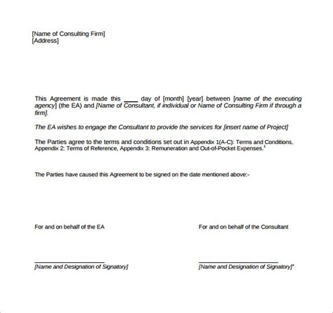consulting contract template 11 free sle exle