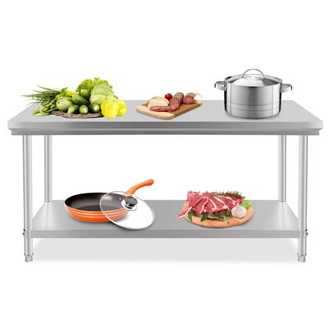 Kitchen Food Preparation Table Stainless Steel Commercial Kitchen Work Food Prep Table 76x180cm