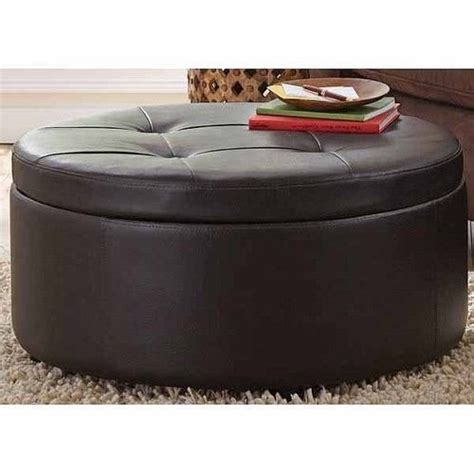 round leather ottoman with storage leather large footstool round storage coffee table ottoman
