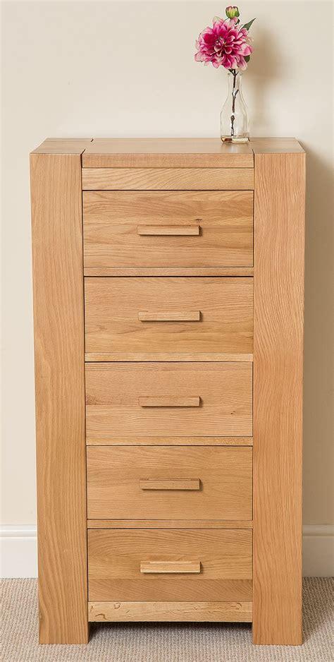 oak wood bedroom furniture kuba chunky solid oak wood 5 drawer tallboy chest of
