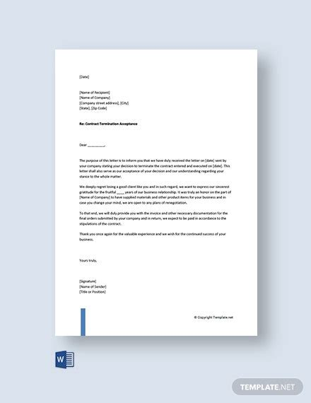 termination letter templates word