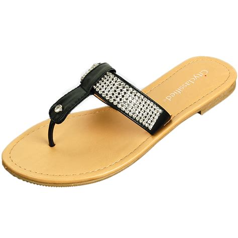 Flast Shoes Sandal Wanita Mg30 s rhinestone sandals t thongs slip on flats fashion flip flop shoes