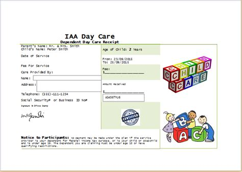 receipt template childcare ms word printable daycare receipt template receipt templates