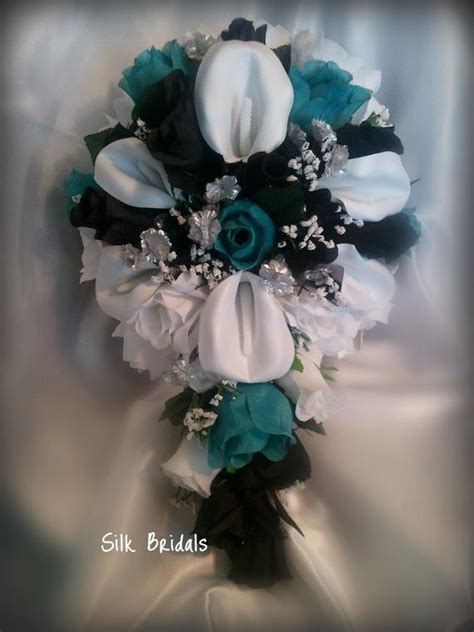 items similar to bridal bouquet silk wedding flowers black aqua malibu white silver calla roses