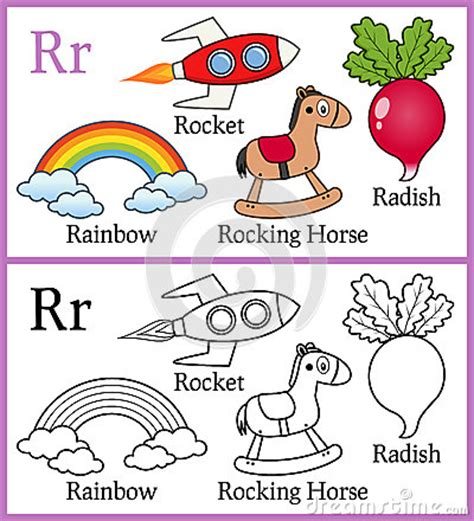 Coloring Book For Children   Alphabet R Stock Vector