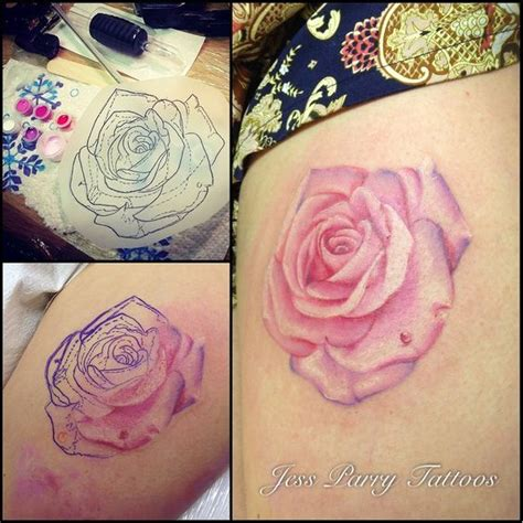 red and white rose tattoo realistic pink by jess parry tattoos