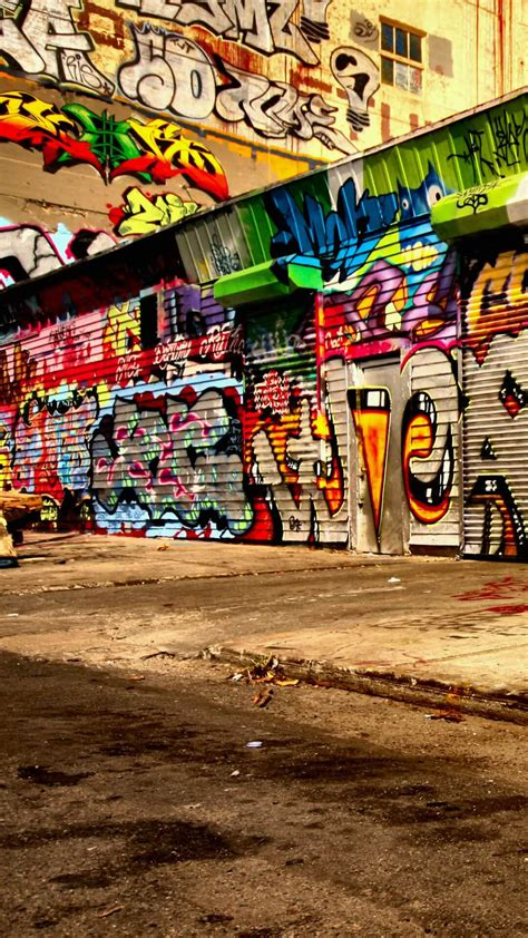 graffiti wallpaper for android phones colorful graffiti city alley street art android wallpaper