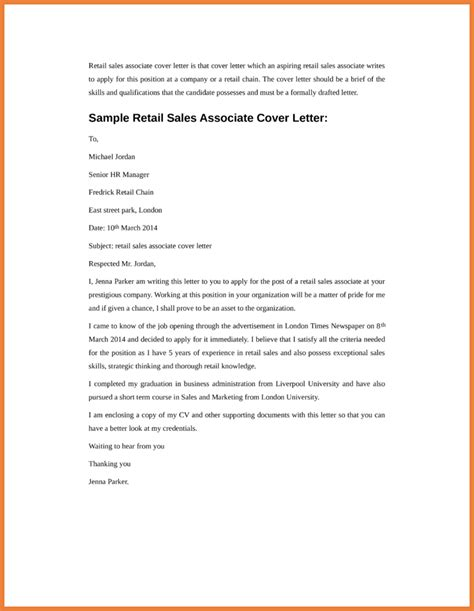 Sale Associate Cover Letter by Cover Letter Exles For Retail Sales