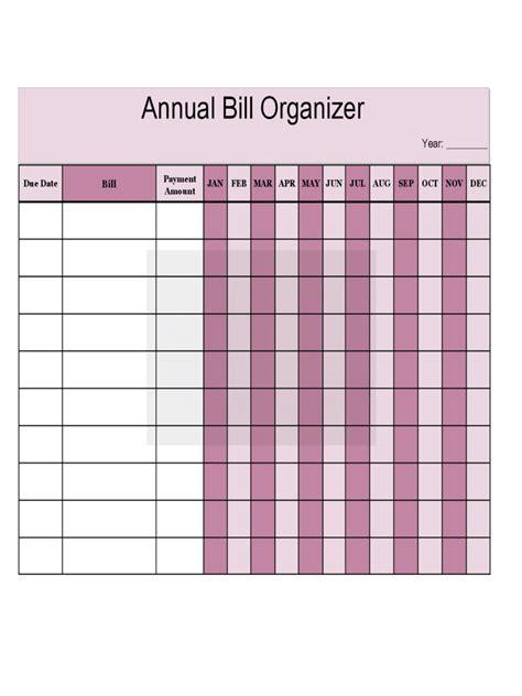 bill organizer chart bill organizer chart 3 free templates in pdf word