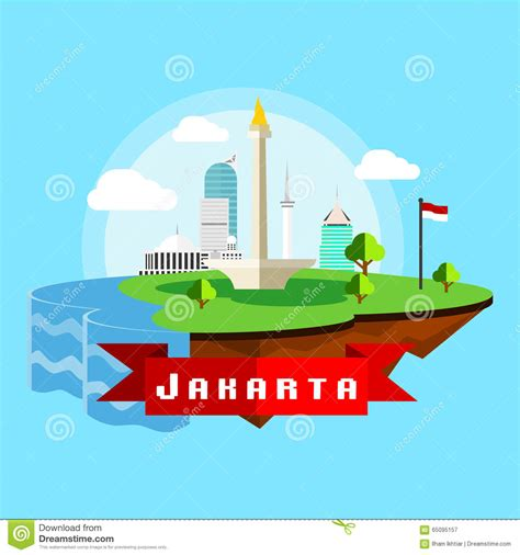 flat design indonesia jakarta city scape vector in flat style stock vector