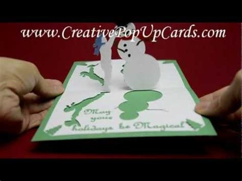 snowman creative pop up card template magical snowman pop up card template