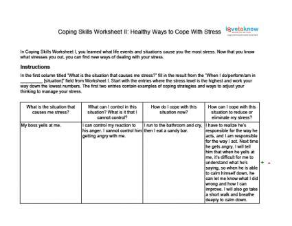coping with anxiety worksheets coping skills worksheets for adults lovetoknow