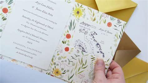custom wedding invitation tri fold cover with pocket mounted invitation