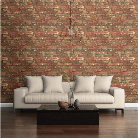red peel and stick wallpaper nuwallpaper red west end brick peel and stick wallpaper