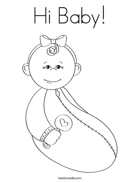 hi baby coloring page twisty noodle