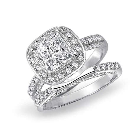 Engagement Ring Wedding Sets by 925 Silver Princess Cut Engagement Wedding Ring Bridal Set