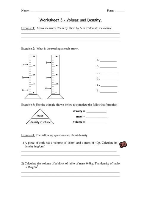 Volume And Density Worksheet by 14 Best Images Of Mass And Volume Worksheets Density