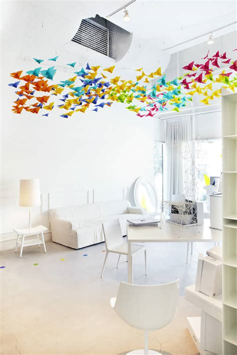 Origami Installation - amazing installation origami butterflies by
