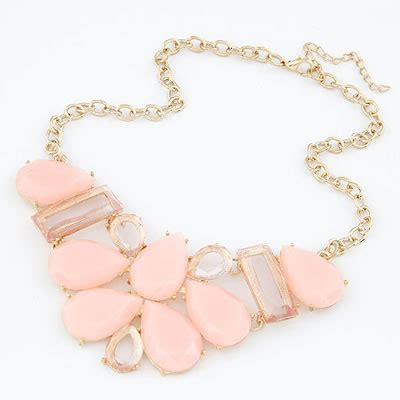 pink geometry square resin bib necklaces asujewelry