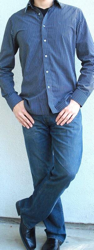 black striped shirt black t shirt black dress shoes blue