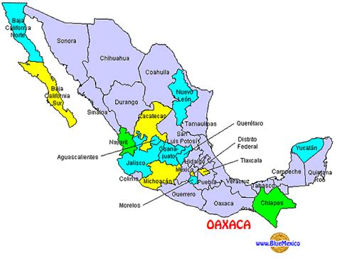 mexico states map bluemexico huatulco maps