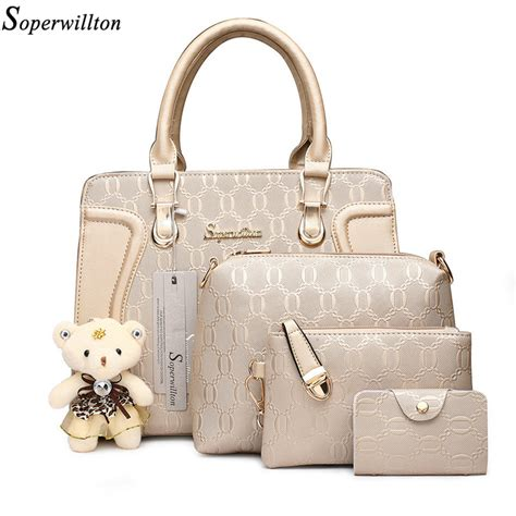 Fashion Bags Set 3in1 aliexpress buy soperwillton bag luxury handbags shoulder patchwork crossbody