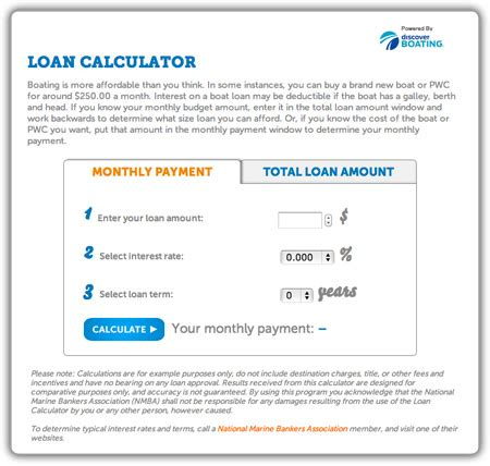 boat loan calculator how much can i afford interactive tools