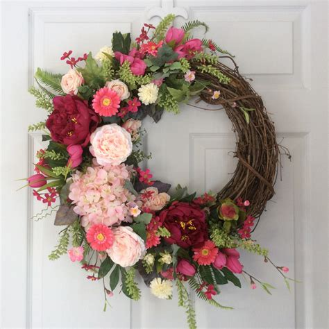 Front Door Wreaths Wreath Summer Wreath Front Door By Reginasgarden On Etsy