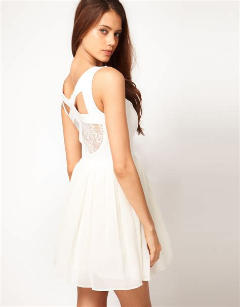 Asos Lace Back Courts asos prom dress with lace back detail in lyst