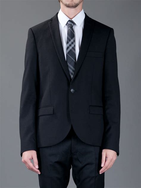 burberry check silk tie in black for lyst