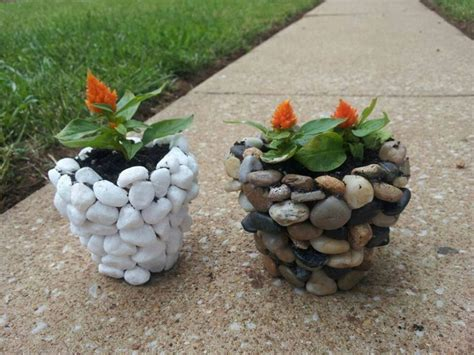 River Rock Planter by River Rock Planters Rock Crafts