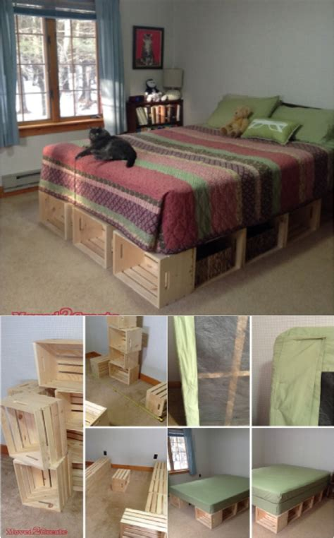 wooden crate bed frame 21 diy bed frames for an affordable new bedroom look ritely