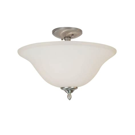Semi Flush Mount Ceiling Light Brushed Nickel Bel Air Lighting Stewart 2 Light Brushed Nickel Cfl Ceiling Semi Flush Mount Light Pl 8162 Bn