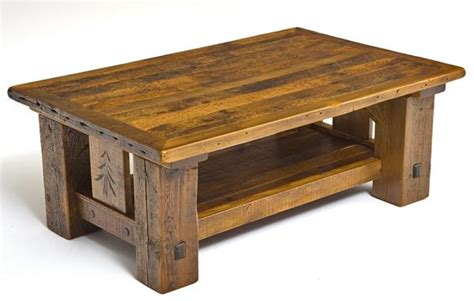 Barnwood Coffee Table Rustic Lodge Coffee Table Carved Pine Tree Motif Cabin Decor