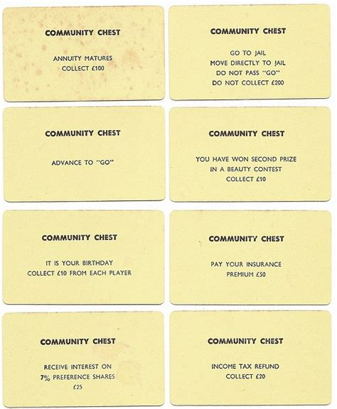 community chest cards template pics for gt monopoly community chest cards