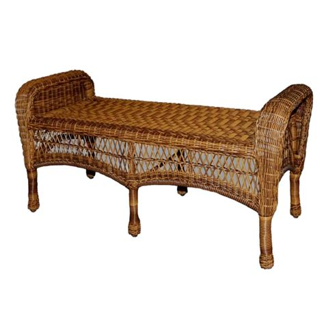 wicker benches furniture classic coastal avalon wicker bench wickercentral com