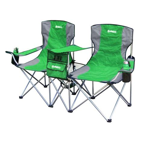 two seat folding cing chair shop gigatent green steel folding side by side