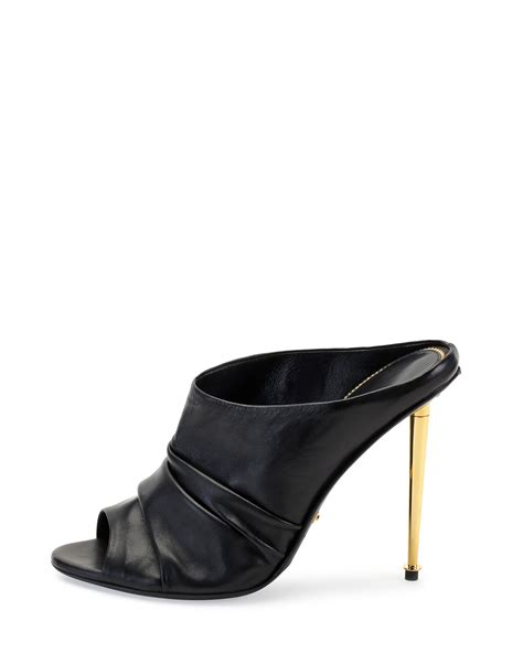 black leather high heel mules tom ford ruched leather high heel mule in black lyst