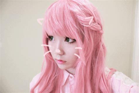 Turban Bunny Pita With Curly Hair pink wig gif