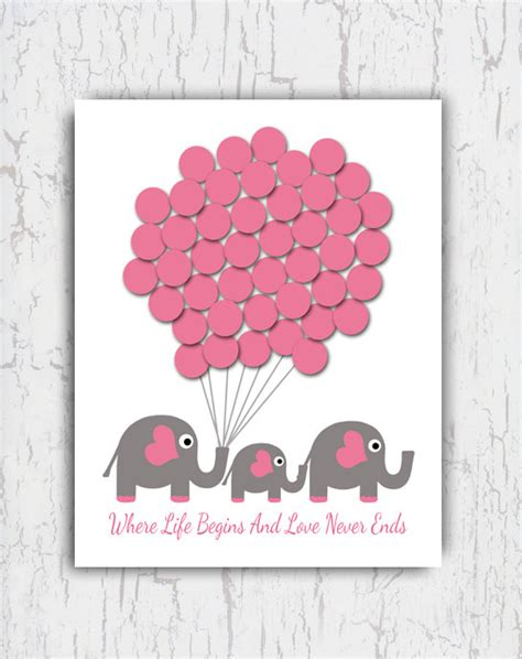 Baby Shower Sign In Book by Baby Shower Guest Book Sign In Baby Elephant By