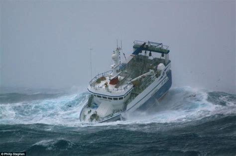 Yacht Sinks by North Sea Trawlermen Fishing Boat Battered By Waves As