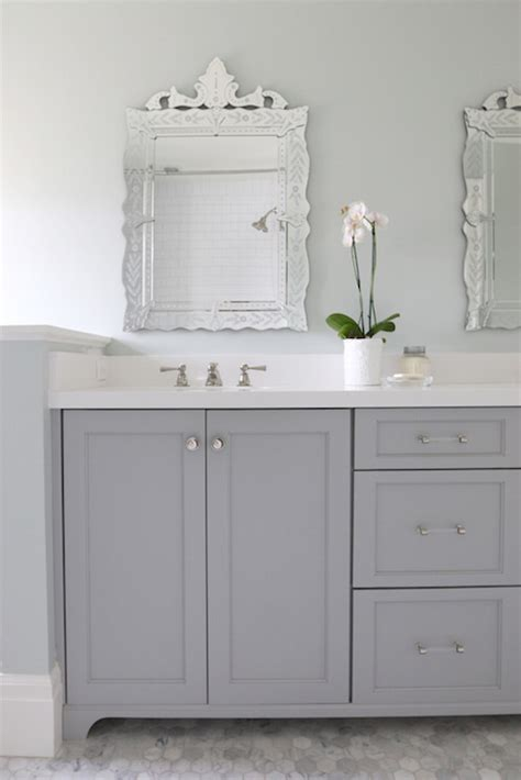 gray painted bathroom cabinets gray dual bathroom vanity transitional bathroom