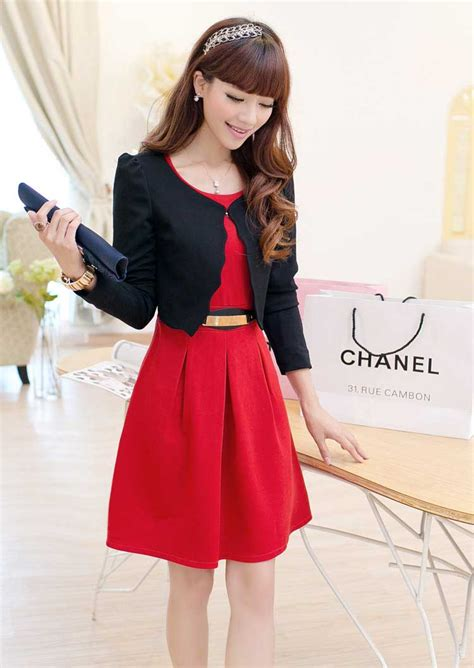 Cantik Dress dress korea cantik gratis cardigan model terbaru jual